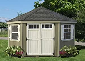 Little Cottage 10 x 10 ft. 5-Sided Colonial Panelized Garden Shed with Transom Windows