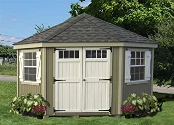 5 sided colonial panelized garden shed with transom