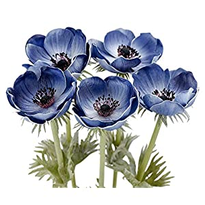 MARJON FlowersLong Stems of 'Real Touch' (Midnight Blue) Artificial Anemone Flowers with Leaves, for Home/Kitchen Décor/Wedding/DIY Flower Arrangement Decoration 32
