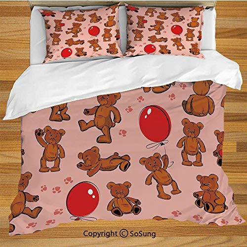 Kids Animal Queen Size Bedding Duvet Cover Set,Vintage Teddy Bear Pattern Paws Footprint with Balloon and Hearts Print Decorative 3 Piece Bedding Set with 2 Pillow Shams, -