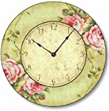 Item C2012 Vintage Shabby Chic Style 10.5 Inch Pink Rose Clock