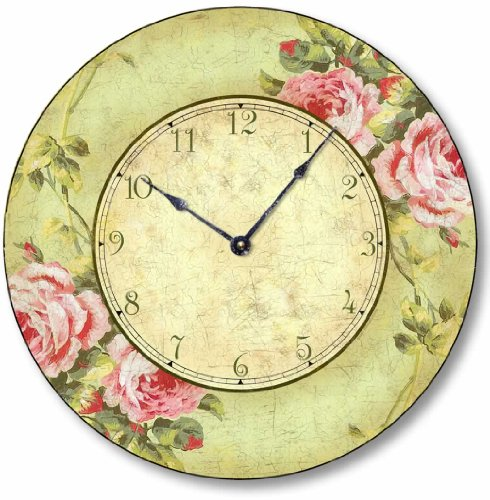 Item C2012 Vintage Shabby Chic Style 10.5 Inch Pink Rose Clock For Sale