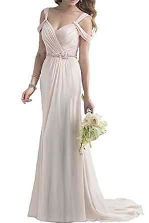 c363b70e2537 MEET Off-Shoulder Bridesmaid Dresses Chiffon Long Backless V-Neck Beaded  Prom Dress Beige