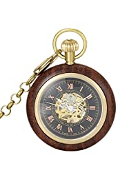 SwitchMe Men's Women's Copper&Wood Hand Wind Mechanical Pocket Watch Roman Numeral with Chain Black