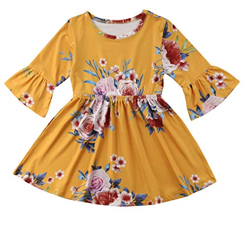 (Toddler Infant Baby Girl Dress Floral Ruffle Half Sleeve Skirt Fall Clothes Set (Yellow, 4-5 Years))