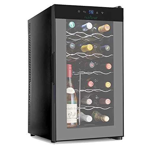 NutriChef 18 Bottle Thermoelectric Red And White Wine Cooler/Chiller, Counter Top Wine Cellar with Digital Control, Freestanding Refrigerator, Smoked Glass Door, Quiet Operation Fridge