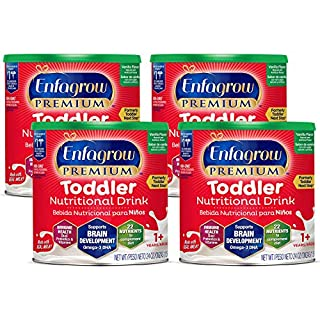 Enfagrow Premium Omega 3 DHA Prebiotics Non-GMO (Formerly Toddler Next Step) Toddler Nutritional Milk Drink, Vanilla Flavor Powder 24 oz. can (4 Cans) From the Makers of Enfamil