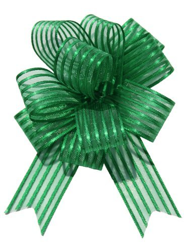 Organza Pull Bows (x2) EMERALD GREEN Large 6 Pom Pom Bow by Pull Bow
