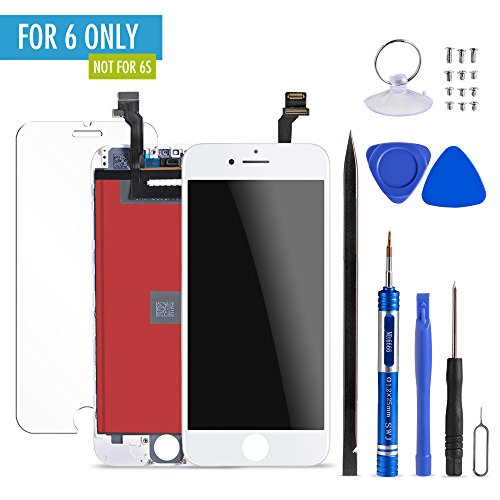 Mobiizoo iPhone 6 LCD Glass Screen Replacement White Digitizer Assembly Display Parts Repair with Durable Sensitive Clear Polarized 3D Touch Screen and Free Repair Kit with Tools for Easy - And Lcd Sunglasses Polarized Screens