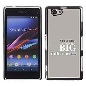 // PHONE CASE GIFT // Moda Estuche Funda de Cuero Billetera Tarjeta de crédito dinero bolsa Cubierta de proteccion Caso Sony Xperia Z1 Compact D5503 / ATTITUDE - BIG DIFFERENCE /
