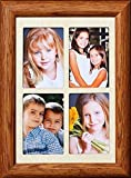 2x3 Wallet Window Frame ~ Holds 4-Portrait 2''x3'' Wallet Photos ~ Gift Frame for Grandparents Grandkid Photos! (FRUITWOOD)