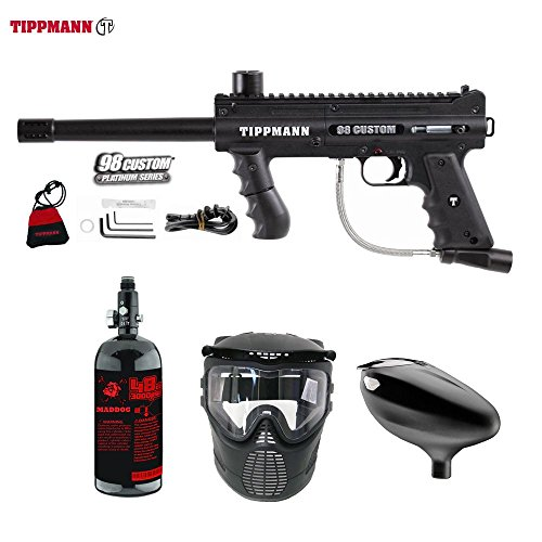 MAddog Tippmann 98 Custom Beginner HPA Paintball Gun Package - Black