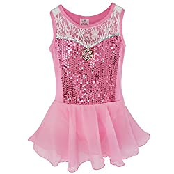 Girls Sequins Chiffon Ballet Dance Dress