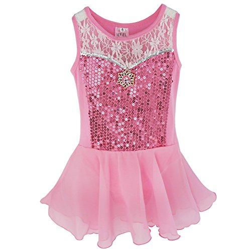 YiZYiF Toddler Kids Girl Ballet Dance Dress Leotard Chiffon Dancewear Costume Pink 4 (Pink Dance Costume)