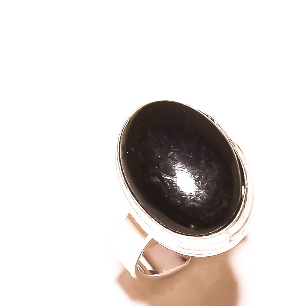 Gift Jewelry Sizable Handmade Jewelry Black Onyx Sterling Silver Overlay Ring Size 5.5 US