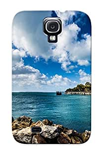 Rugged Skin Case Cover For Galaxy S4- Eco-friendly Packaging(landscape Nature Seascape Ocean Sea Rocks Shore Coast Water Trees Tropical Sky Clouds Scenic )