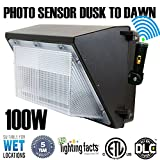 100W 11000lm LED Wall Pack Light ,120Vac 5000K Daylight DLC cETLus-listed 400-600W MH/HPS replacement, Outdoor/Entrance (5-Year Warranty)LPK 100W (5000K)