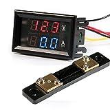 GEREE Dual Display Volt Amp Voltmeter Ammeter 0.28'' LED Digital DC 0-100V/50A Voltage Current Measurement Meter with Shunt