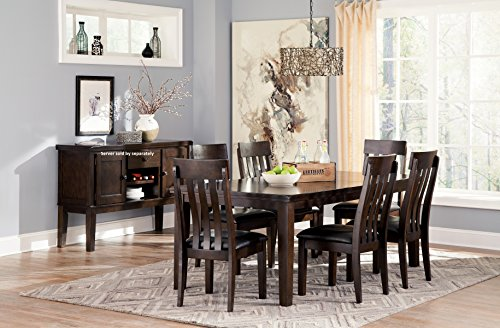 Handigan Casual Dark Brown Color Dining Room Set, Rectangular Table, 6 Chairs