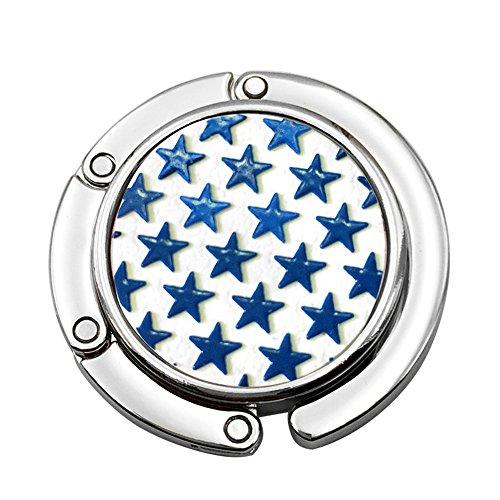 JewelBeauty Little Star Pattern Round Folding Handbag Hook Purse Hanger Holder for Table Desk (Blue)