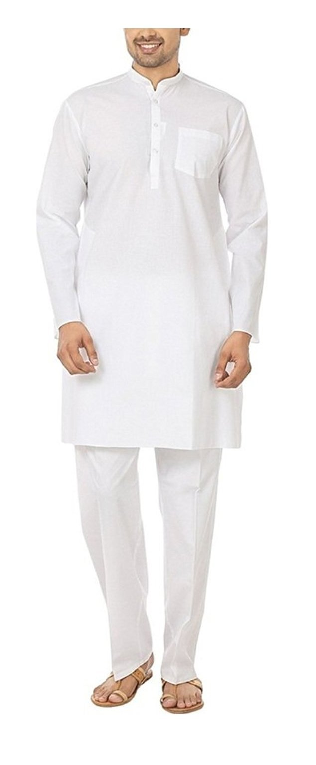 Royal Kurta Men's Fine Cotton Kurta Pyjama Set 48 White