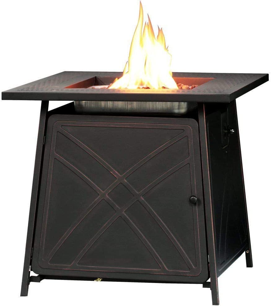 B07HKVW2Q5 Alek...Shop Gas Table Fireplace Heater Outdoor 50,000 BTUs Stone 28'' Propane Gas Fire Pit Patio Finish Lava Rocks Enjoy Dinner Warmer 51UTfLXFGxL.SL1000_