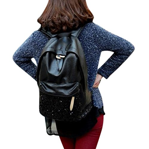 Black Shoulders Paillette Bag PU Women Schoolbag Sequined Daypacks ShiningLove Backpack Fashion Casual nqTCPwwB