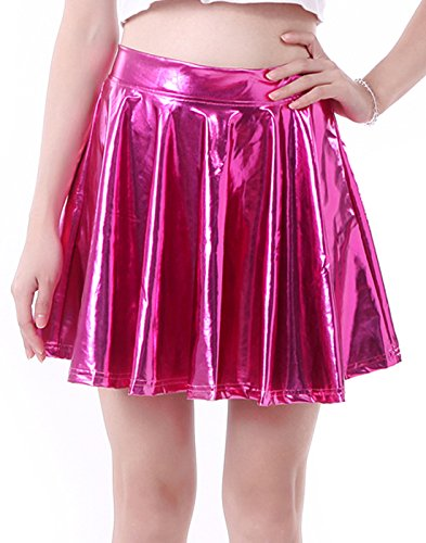HDE Women's Solid Color Metallic Flared Pleated Club Skater Skirt (Hot Pink, Small)