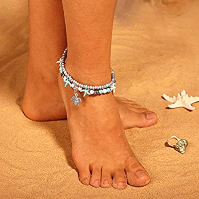 Victray Boho Turtle Anklets Starfish Turquoise Ankle Bracelets Summer Beach Foot Chains Fashion Foot Jewelry for Women and Girls(Pack of 2)