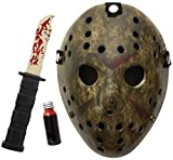 Real Jason Mask Set! Replica Knife/Clotted Blood/Blackout Repellent Water Bag Total 4Pcs