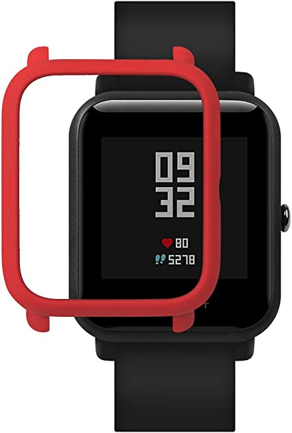 SIKAI Bumper Case Cover for Amazfit Bip Smart Watch Protective Anti-Scratch Colorful PC Cover for Huami Amazfit Bip Smart Watch (Red)