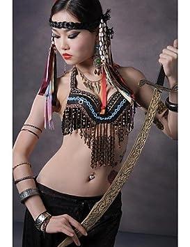 QWG Danza del Vientre Sujetador de rendimiento Coppers decorada diseño de tribal Top, color - black and bronze-s, tamaño black and bronze-s: Amazon.es: ...