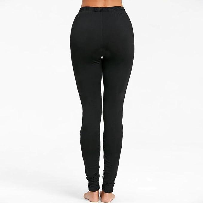 ... de Cintura Alta Pantalones para Correr Women Lace Sexy Black Solid High Waist Pants Trousers Jogging Pantalón de Mujer: Amazon.es: Ropa y accesorios