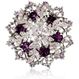 PURPLE SNOWFLAKE BROOCH - WHITE SWAROVSKI ELEMENT CRYSTALS - CHRISTMAS GIFT FOR HER - GIFT BOXED - FAST AMAZON DELIVERY