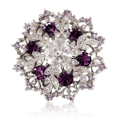 Weihnachten Geschenk - Farbe Silber - Kristalle - violett/lila Schneeflocke Anhänger und Brosche - 14K vergoldet. Crystal Elegance 16