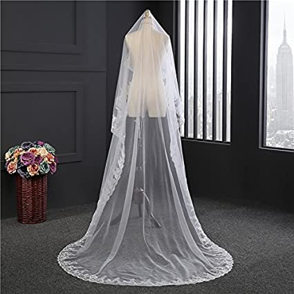 Fishlove 3 Meters 1 Tier Sequins Lace Applique Bridal Wedding Veils Catheral Length HL24