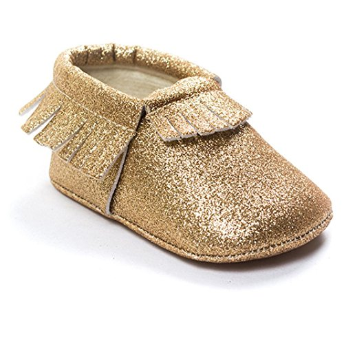 Voberry® Baby Girls Soft Soled Tassel bling bling Sequins Crib Shoes PU Moccasins Sneakers ( 8~12 Month, Gold)