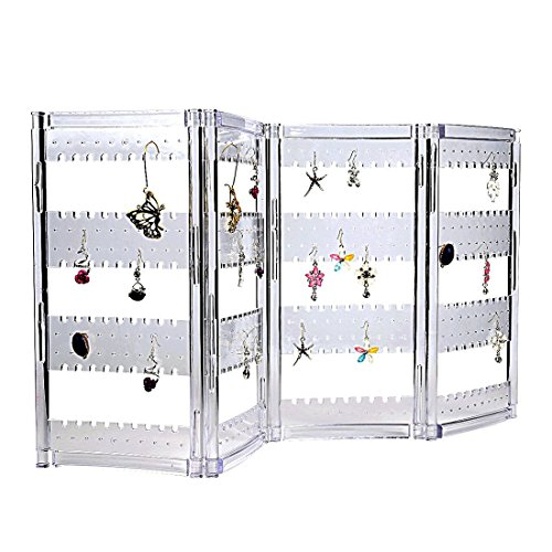 Ivosmart Foldable Acrylic 120 Pair Earring Screen Holder Ear Stud Jewelry Display Stand