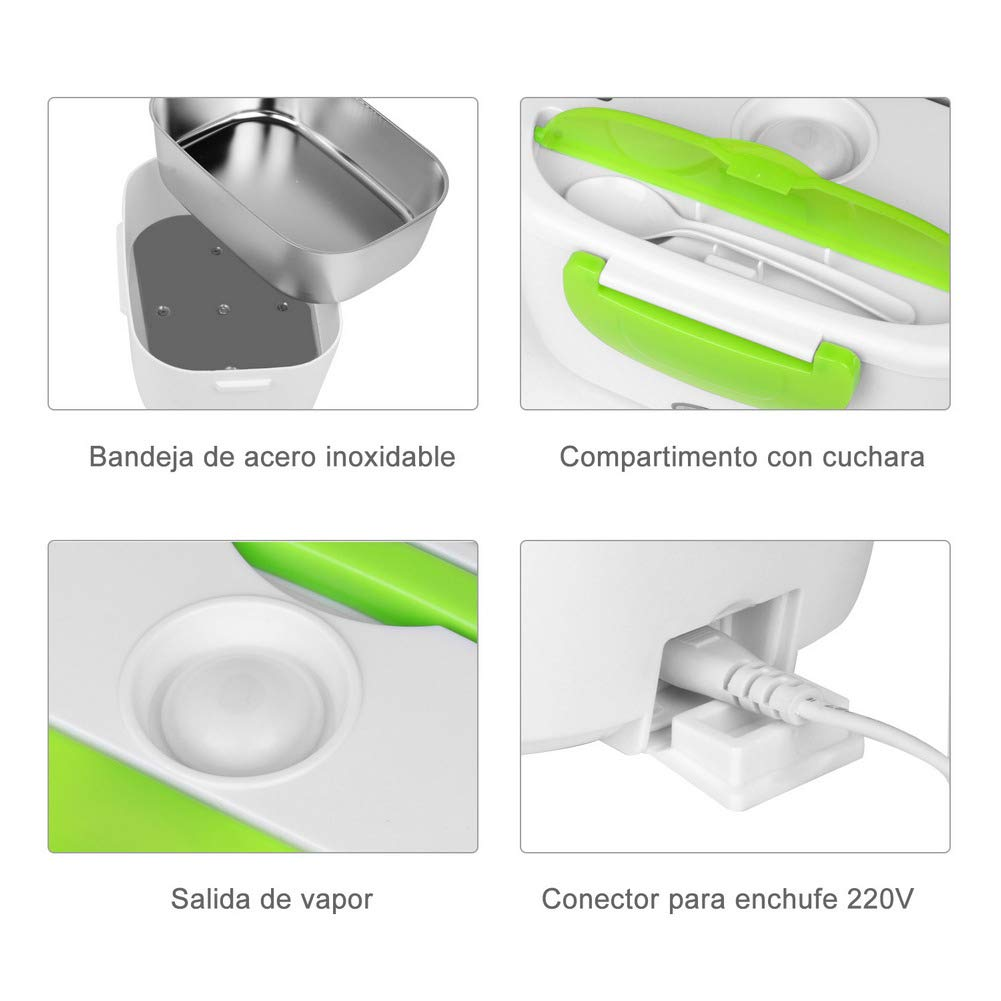 TTMOW Fiambrera Eléctrica Portátil Acero Inoxidable Calentador de ...