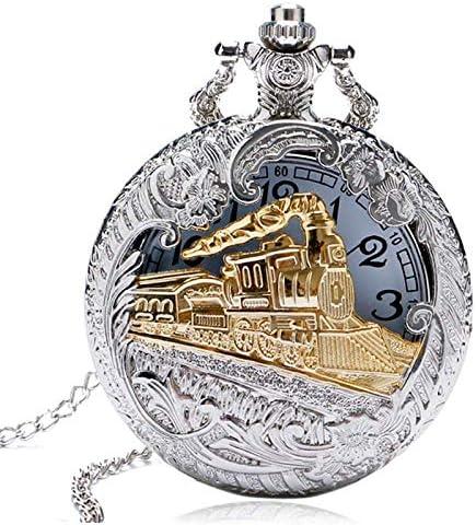 YXZQ懐中時計、ヴィンテージシルバーケースゴールデントレイン機関車中空クォーツクロックアワーネックレスペンダントレディースメンズ