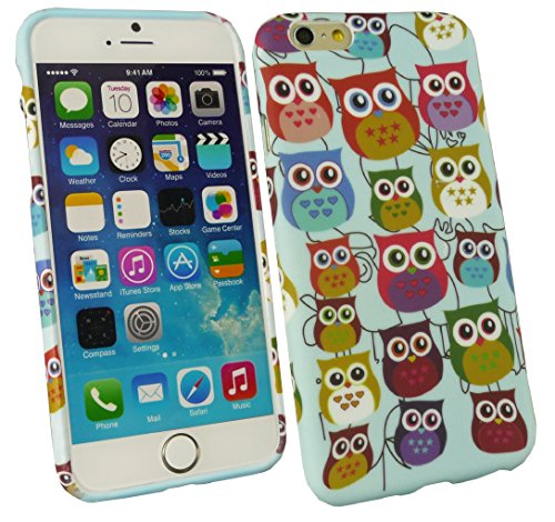 Emartbuy® Apple Iphone 6 4.7 Inch Lunares TPU Gel Funda Carcasa Case Cover Blue / Blanco Búhos Design Gel