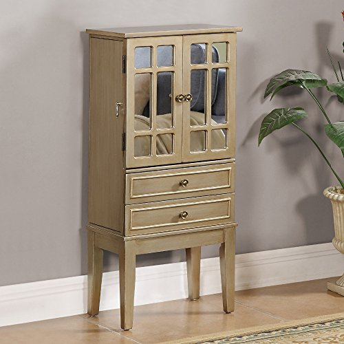 Price comparison product image Coast to Coast Cadia Metallic Gold Jewelry Armoire with 2 Drawers and 2 Doors