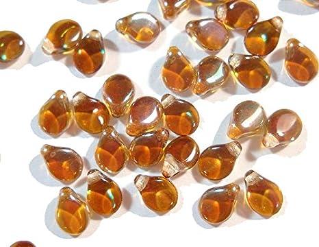 Preciosa Checa Perlas de Cristal PIP Beads 40Kleine Blättchen claro marrón 7mm DIY cz123