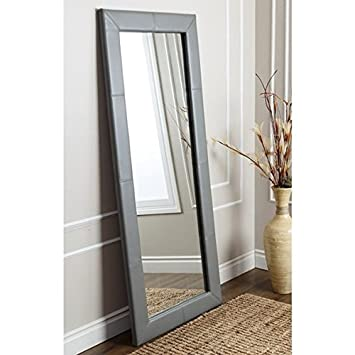 Living Room Rectangular Full Body Grey Leather Floor Mirror