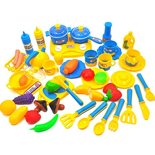 46 Pcs Kitchen Cooking Set,ZICA Girls Boys Kitchen Toys Fun Cutting Fruits Vegetables Pretend Food Educational Toys Early Age Basic Skills (Cooking Food Plastic)