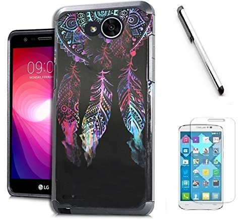 LG X Charge / LG X Power 2 / LG Fiesta LTE / LG K10 Power / LG LV7 Case, Luckiefind Slim Hybrid Dual Layer Case Cover with Stylus Pen, Screen Protector Accessory. (Indian Dream)