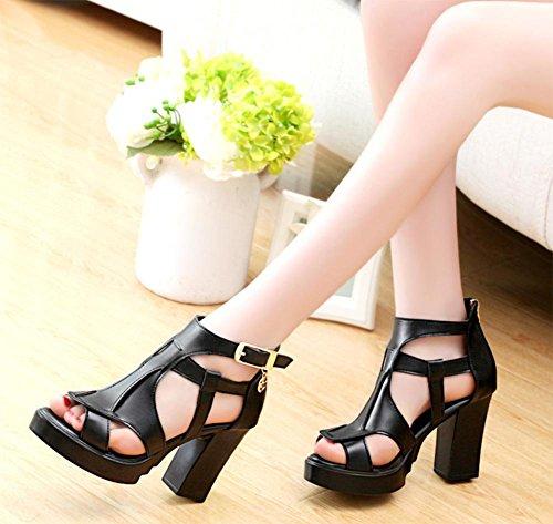 Sommer-Schuhe mit hohen Absätzen, Fischkopf-Frauensandelholze höhlen atmungsaktiv Beutel mit dick mit weiblichen Sandalen black