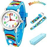 Vinmori Kid's Watch, with 3D Cartoon Rainbow Silicone Band Waterproof Quartz Watch Gift for Children(Blue)