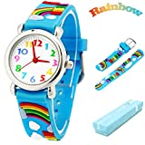 Vinmori Kid's Watch, with 3D Cartoon Rainbow Silicone Band Waterproof Quartz Watch Gift for Children(Blue)