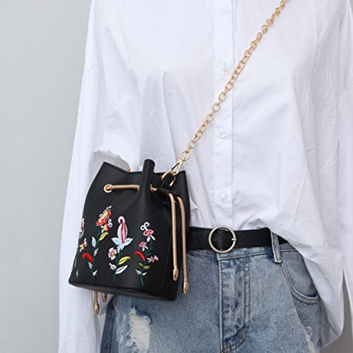 Bag Mini Drawstring Fashion Bucket body Satchel Meliya Floral Embroidery Cross Chain Messager Leather Black Women With Synthetic Shoulder Z4FIwwtx